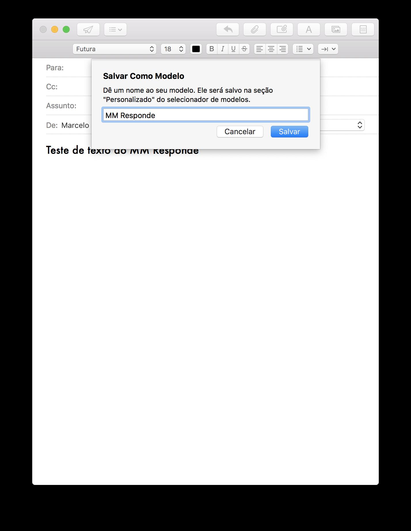 Salvando um modelo de mensagem no Mail
