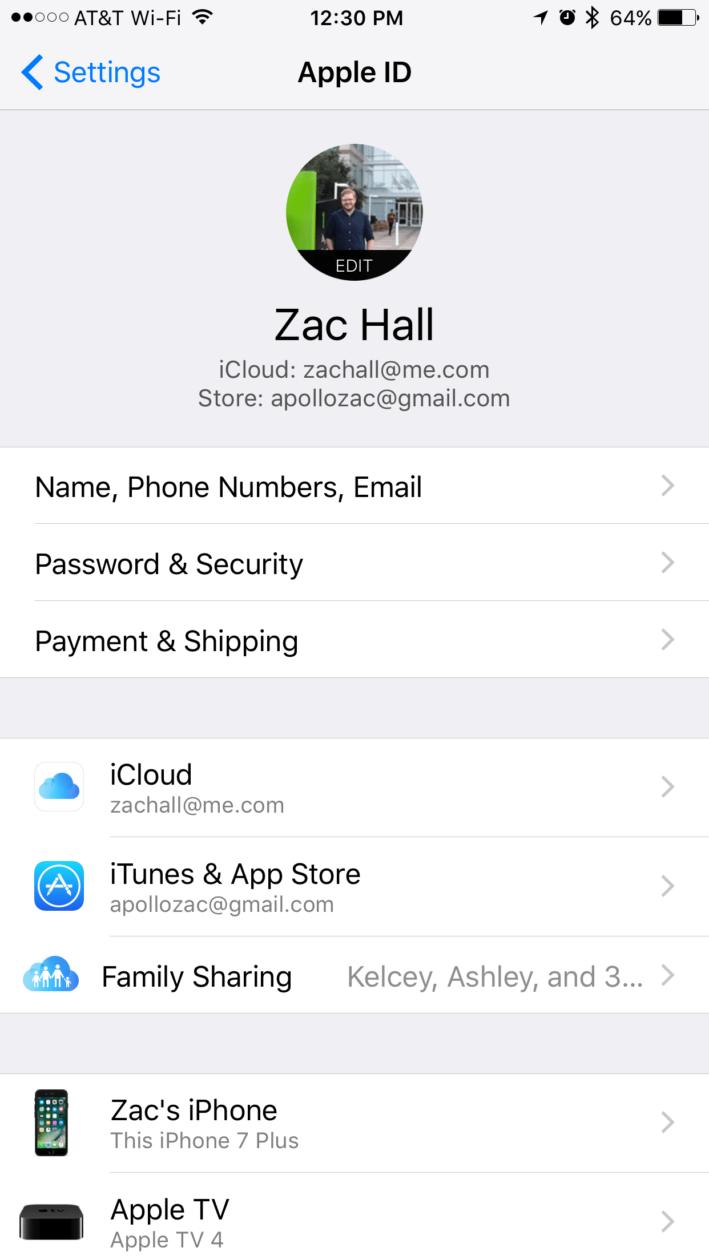 ID Apple nos Ajustes do iOS 10.3