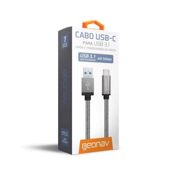 Cabo de nylon trançado de USB-C para USB-A, da Geonav