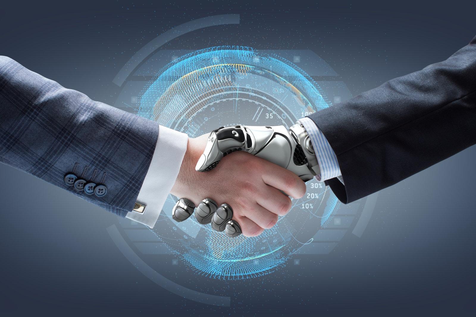 Aperto de mãos entre humano e robô