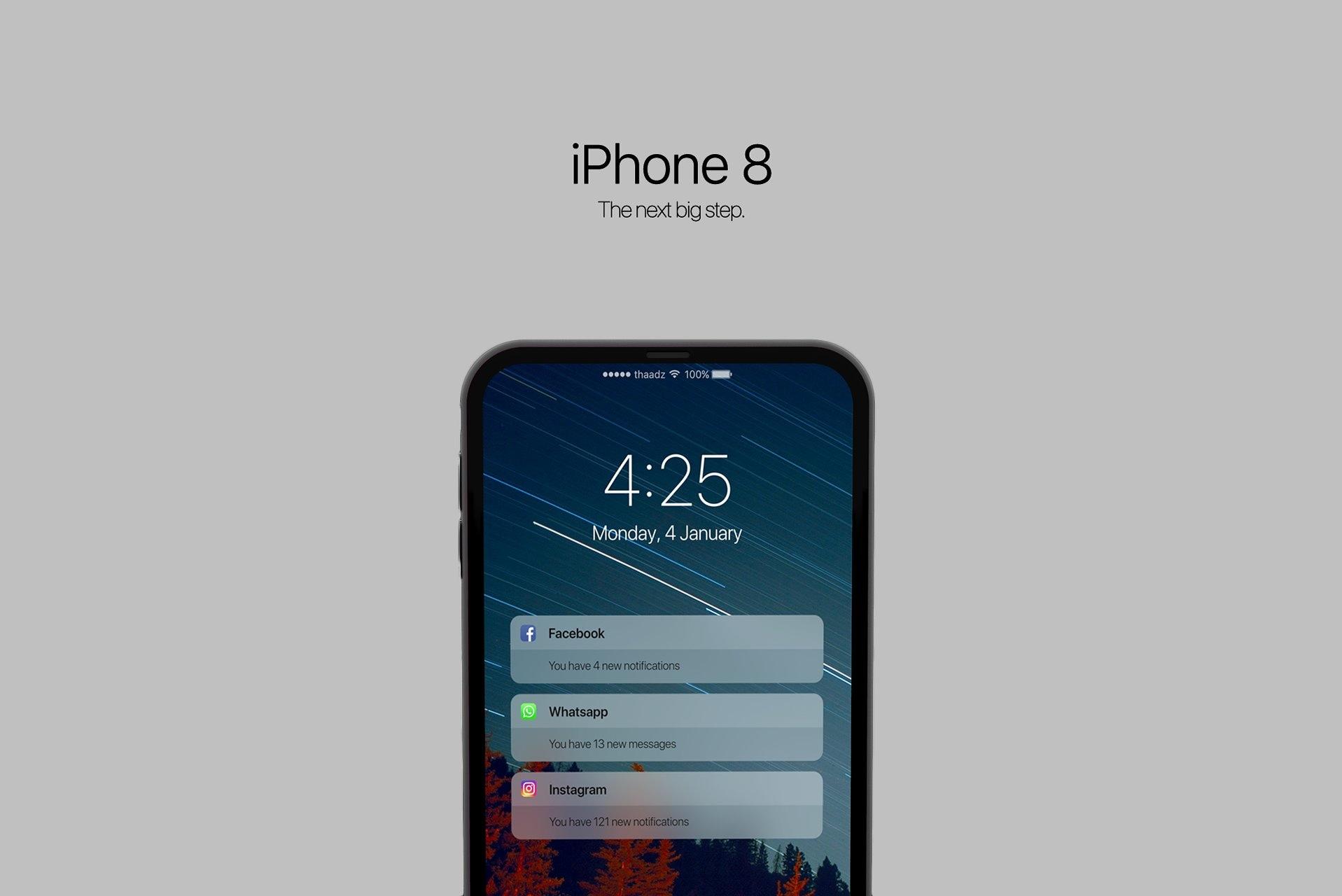 """Conceito de """"iPhone 8"""" criado por Thadeu Brandão"""