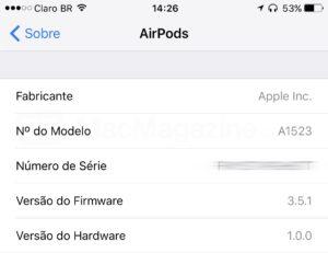 Atualização do firmware dos AirPods