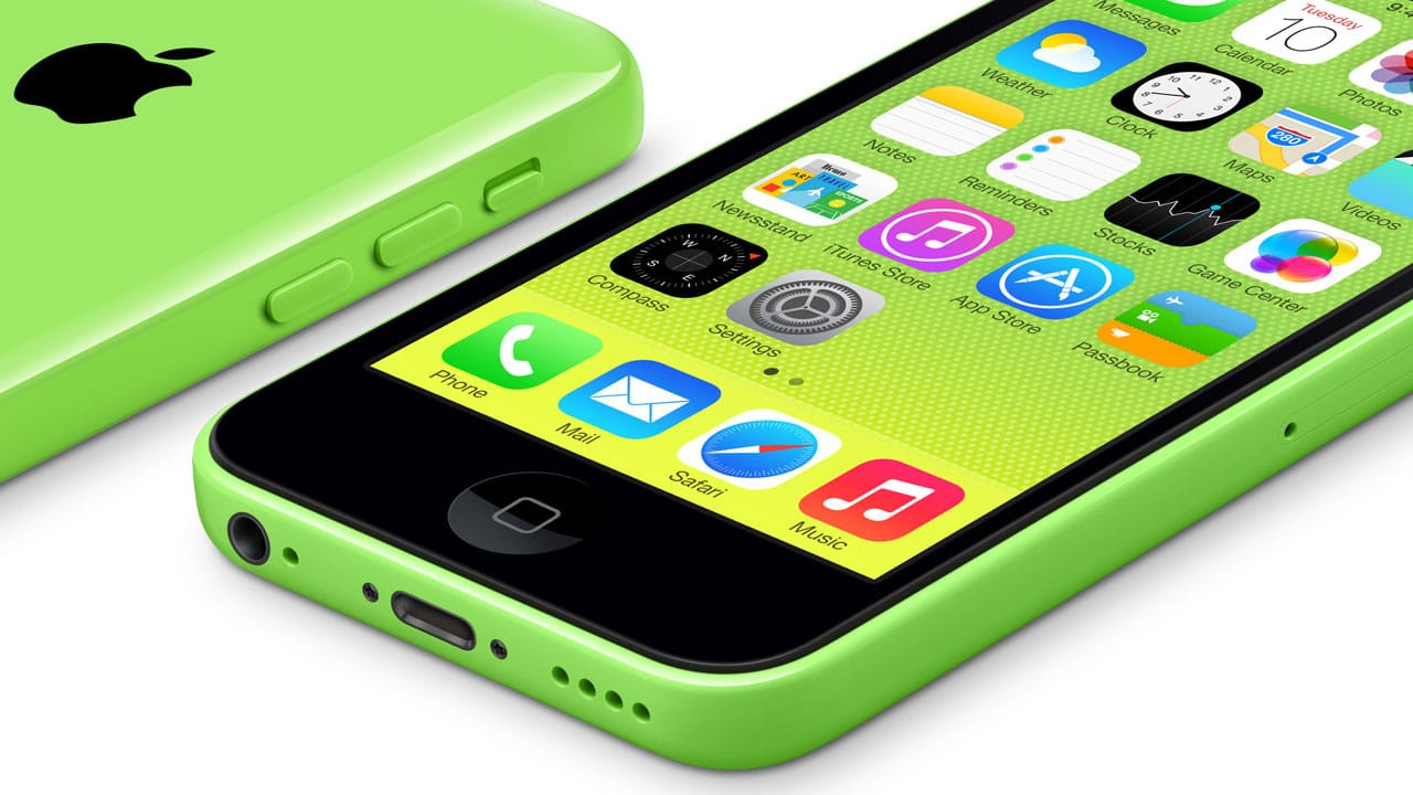 iPhone 5c verde, deitado (frente e costas)