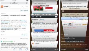 Histórico e tela de abas do Safari no iOS