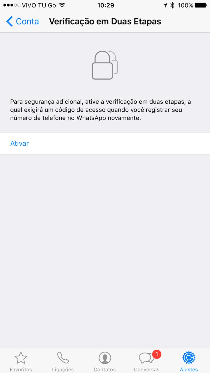 Verificação em duas etapas no WhatsApp Messenger
