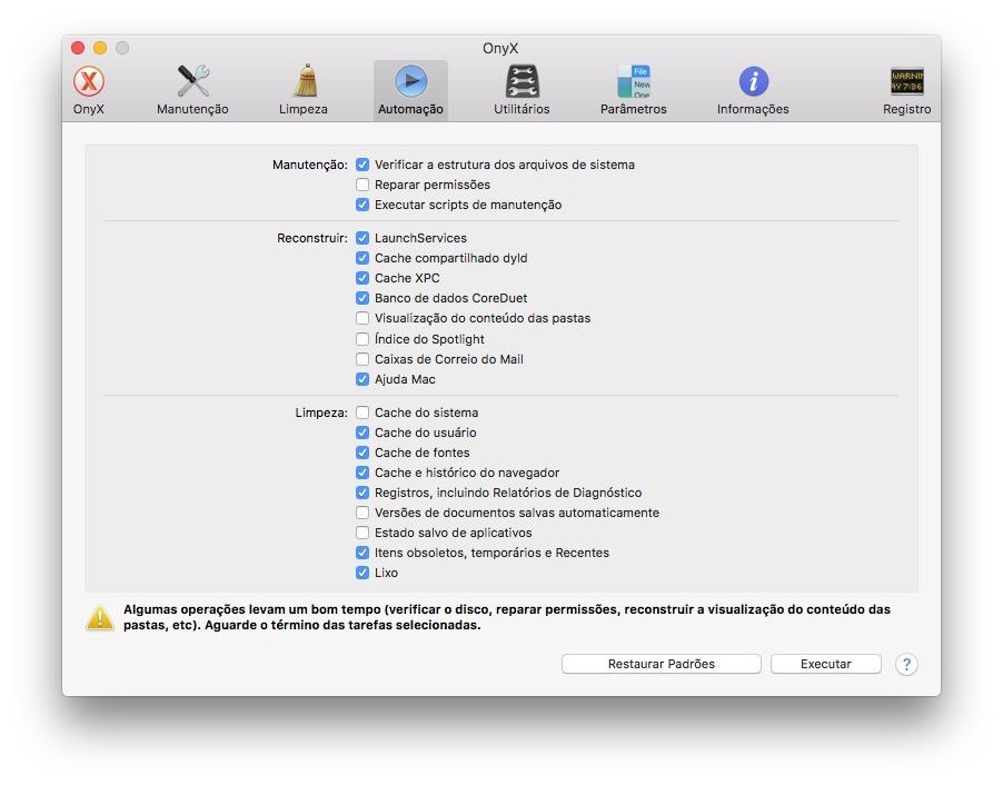 OpçÕes do OnyX para macOS