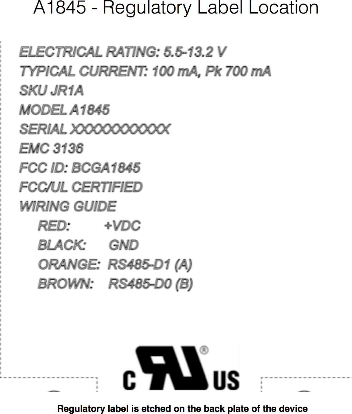 Documento do dispositivo A1845, testado pela FCC