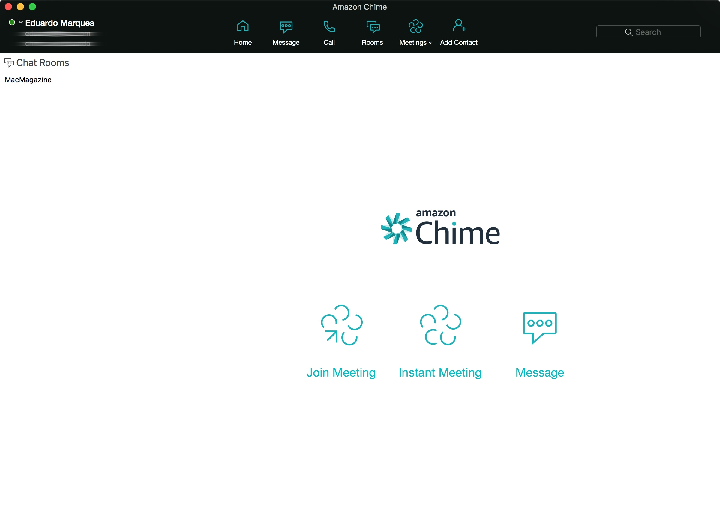 Interface do Amazon Chime para macOS