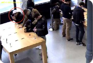 Ladrão mastigando cabo de segurança que prende iPhone