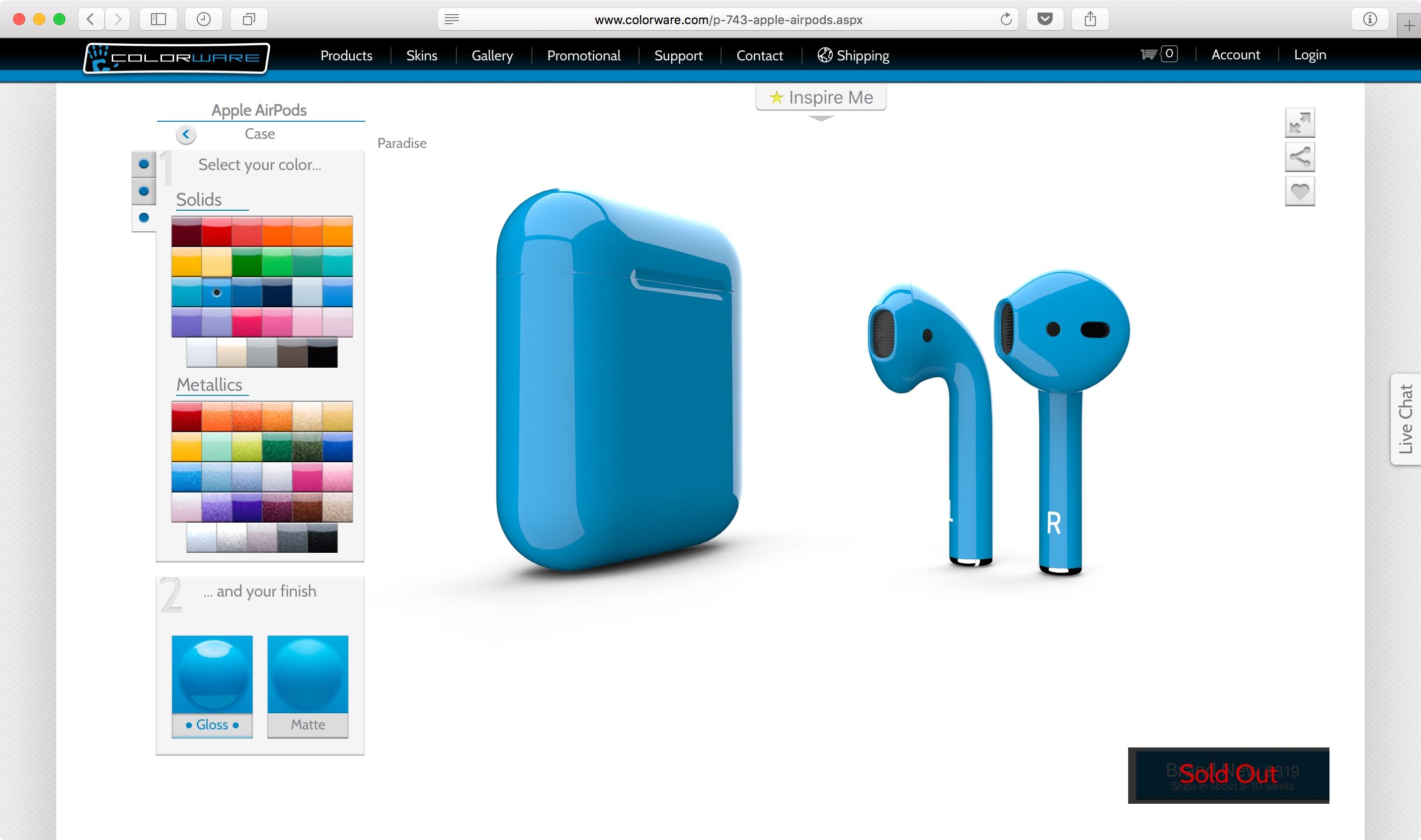 Personalizando AirPods no site da ColorWare