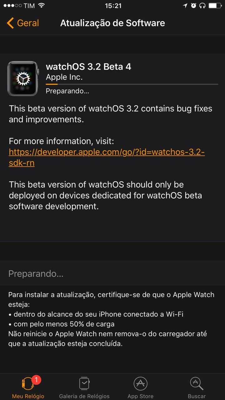 watchOS 3.2 beta 4