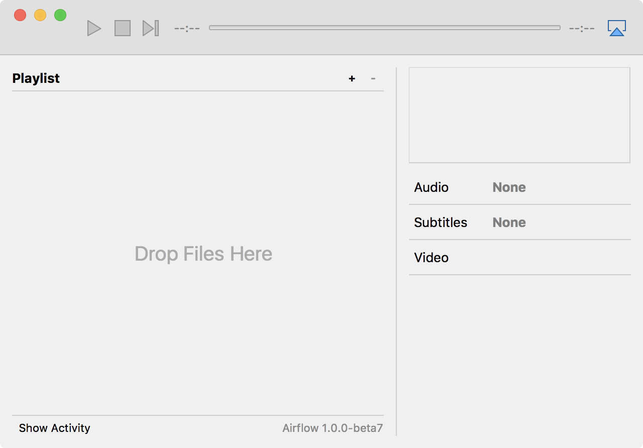 Janela do app Airflow para macOS