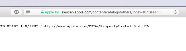 URL indicando o macOS 10.13