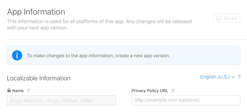 Campo de edição de metadados para a App Store