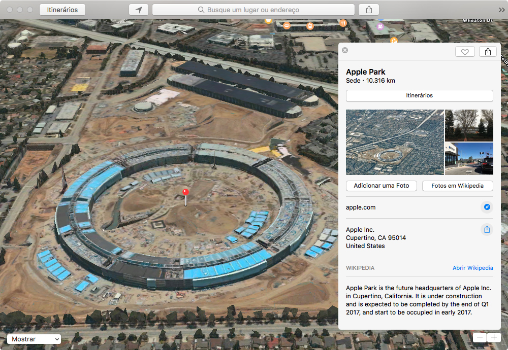 Apple Park nos mapas da Apple