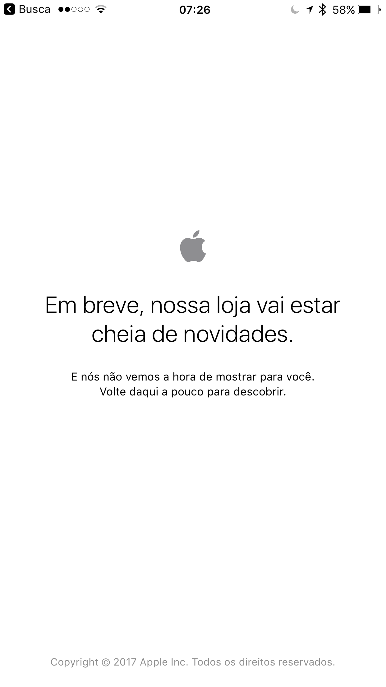 Apple Online Store fora do ar