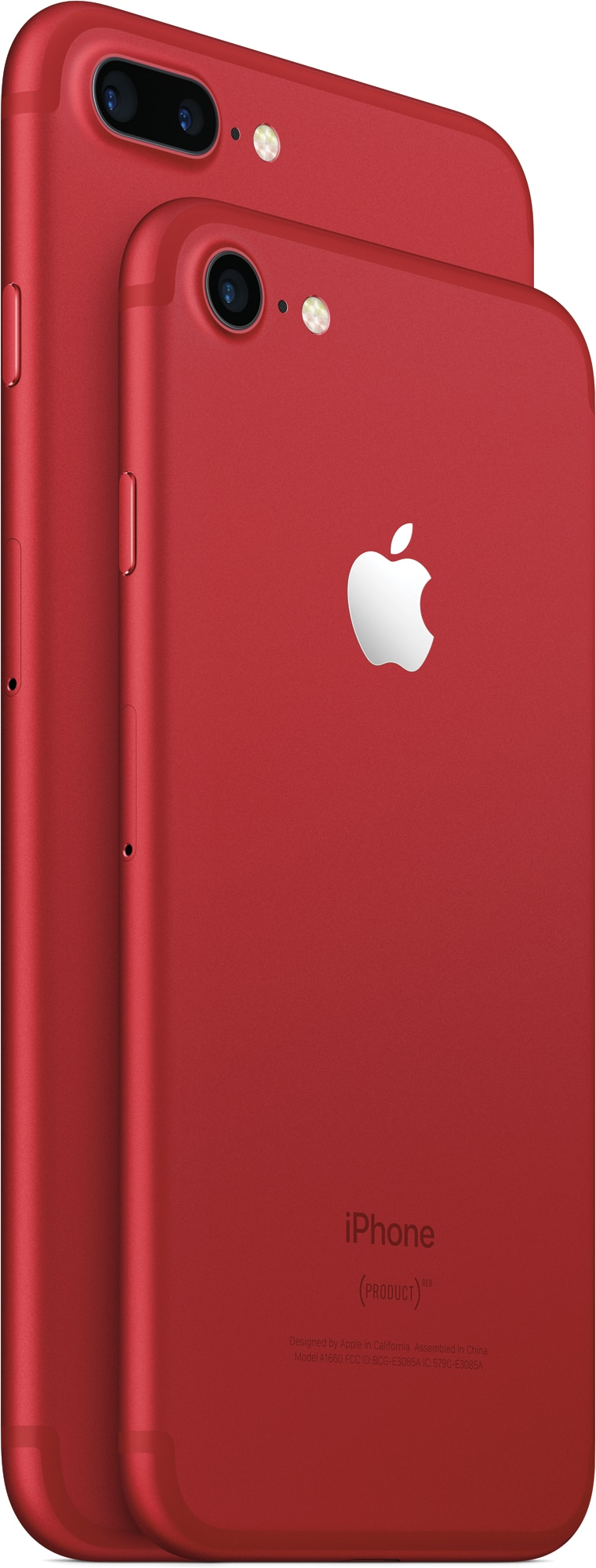 iPhones 7 e 7 Plus (PRODUCT)RED inclinados