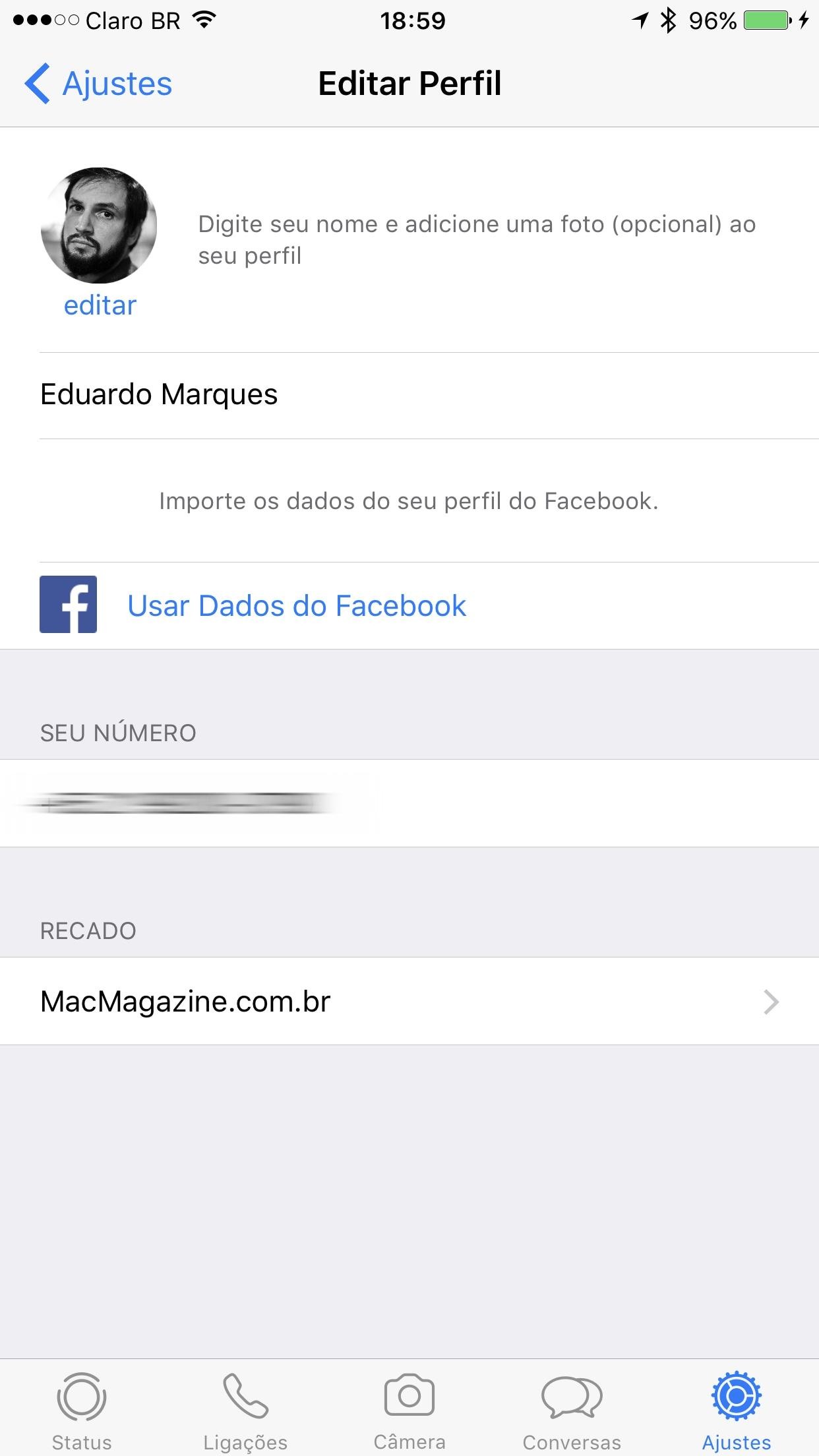 """Função """"Recado"""" no WhatsApp para iOS"""