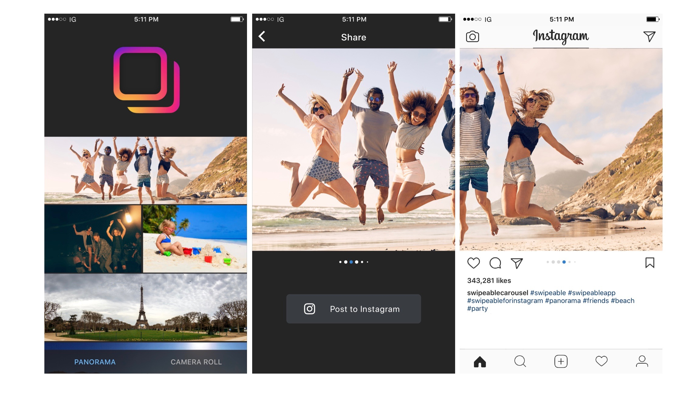 App Swipeable Panorama for Instagram