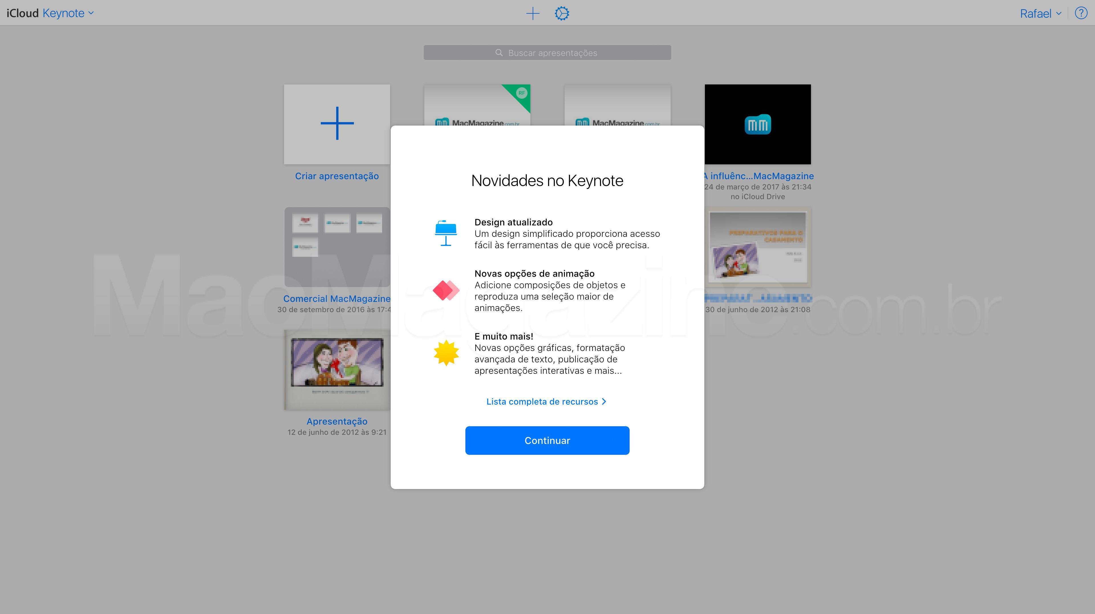 Keynote atualizado no iCloud.com