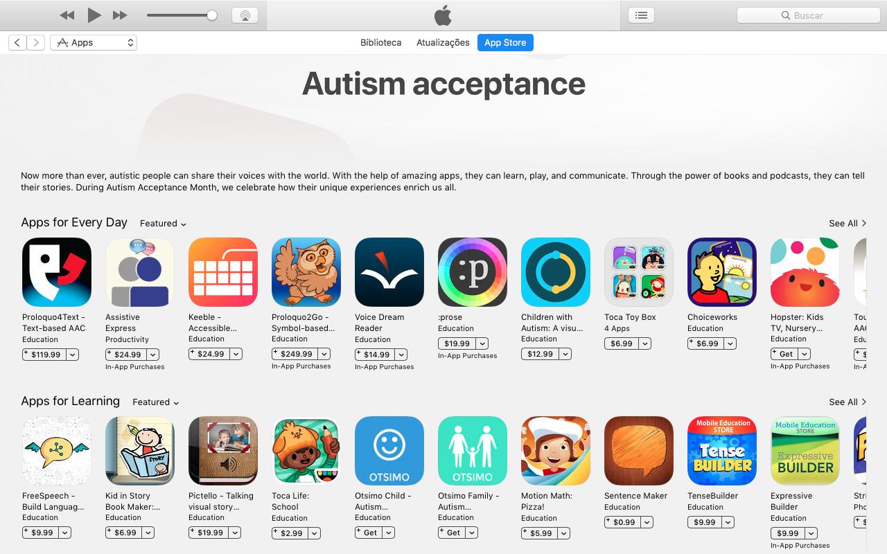 Página especial da App Store em comemoração ao mês de aceitação ao autismo