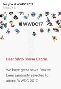 Confirmação de participação na WWDC'17