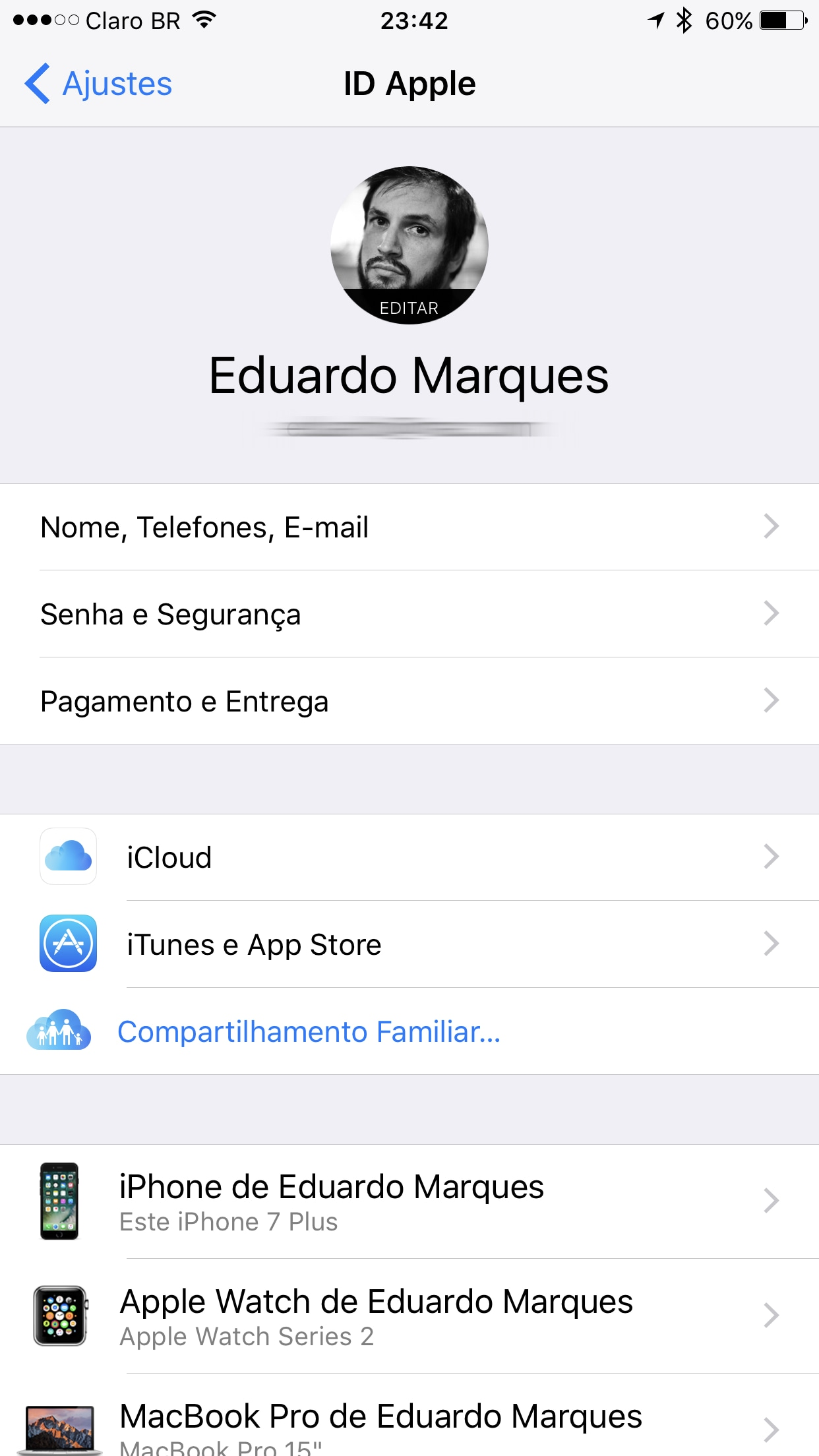 Área do iCloud - Ajustes do iOS