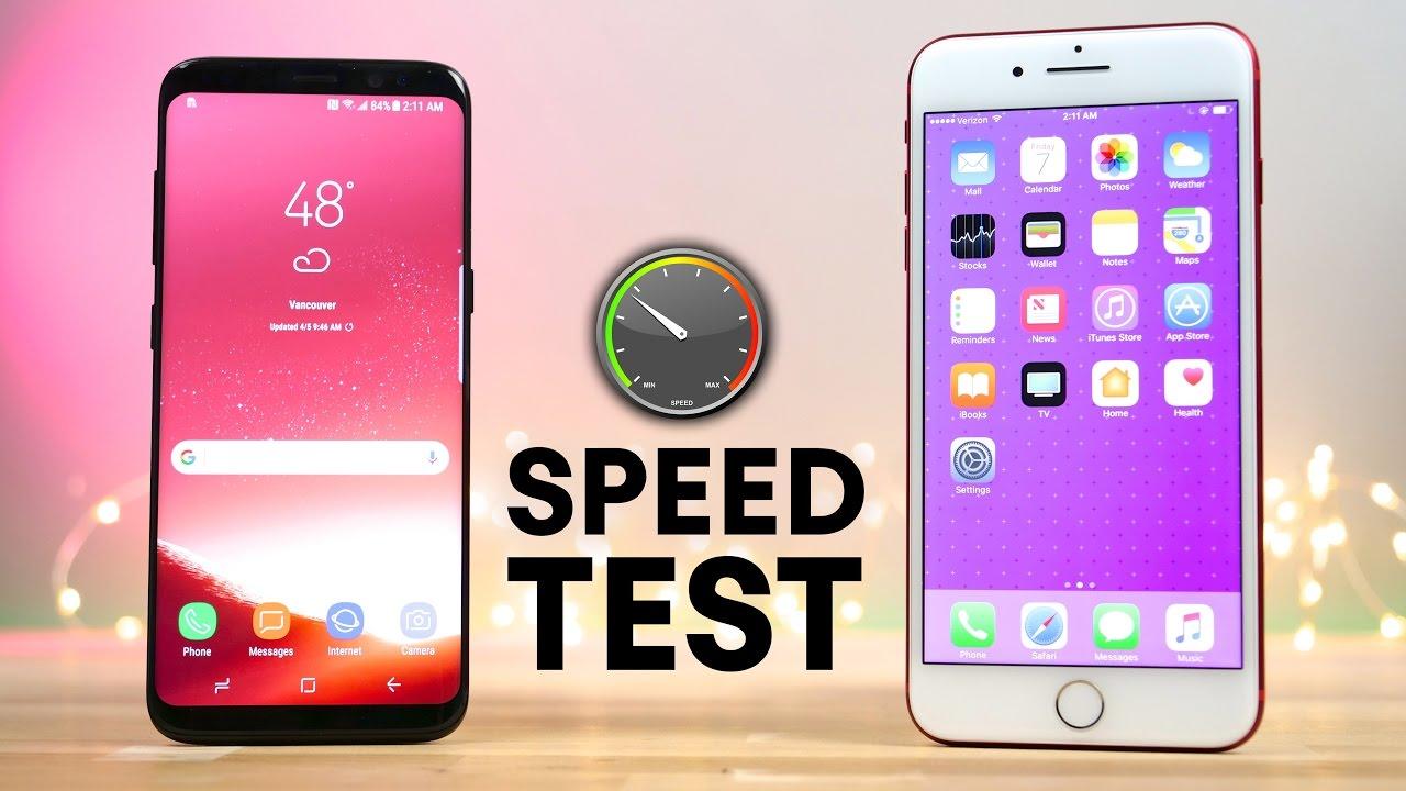 Galaxy S8 iPhone 7 Plus velocidade