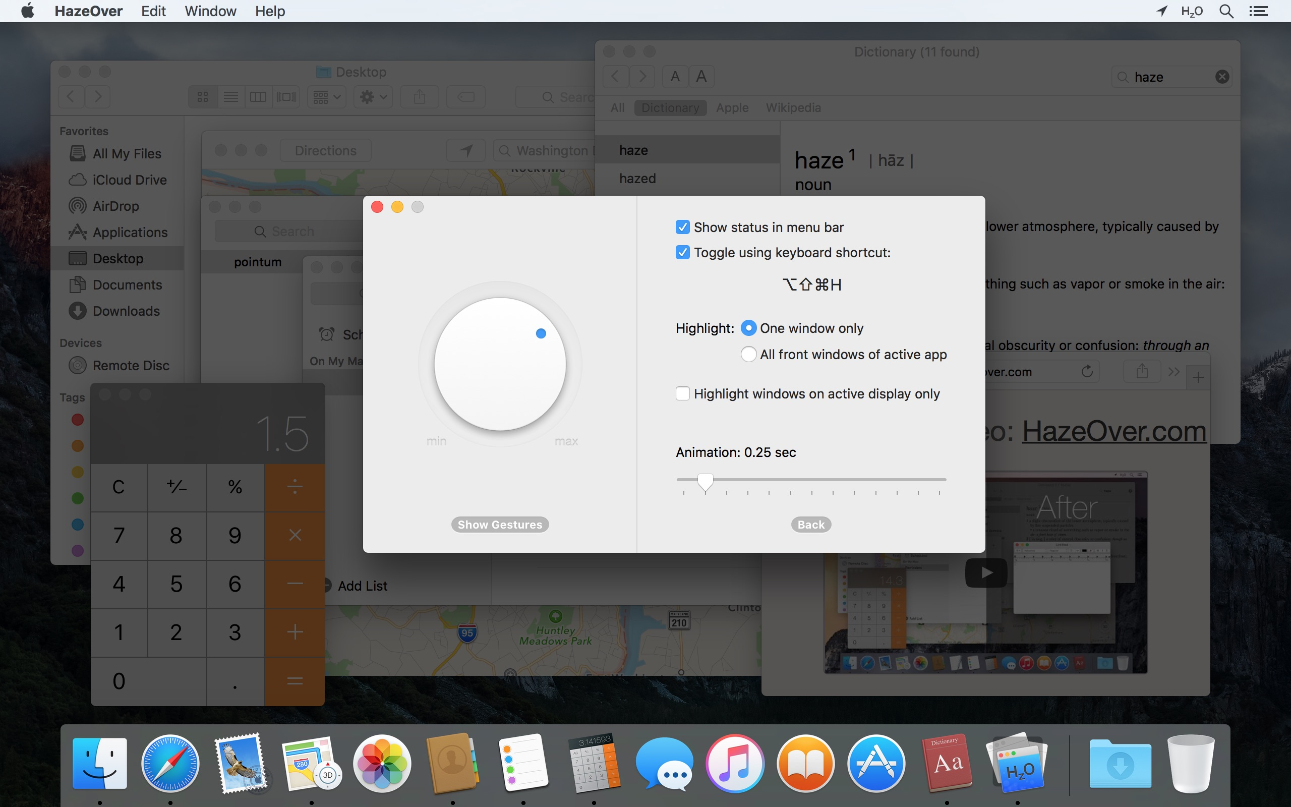 App HazeOver para macOS
