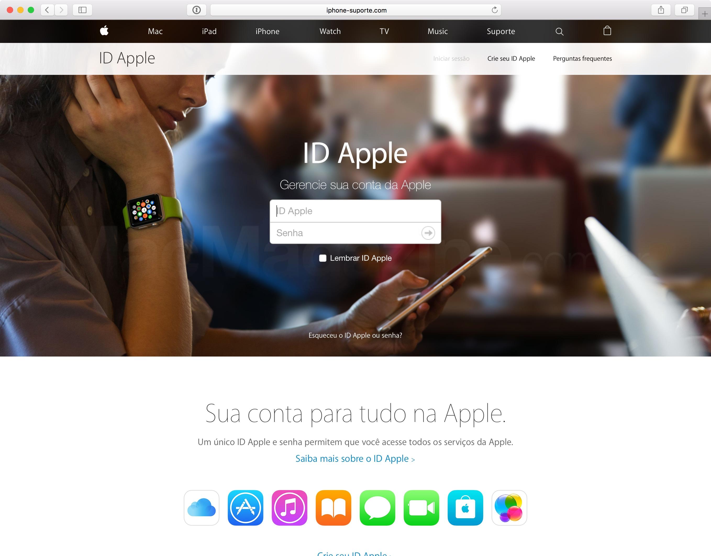 Página falsa do iCloud