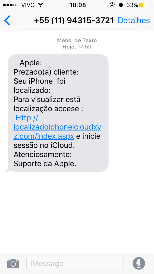 SMS falsa do iCloud