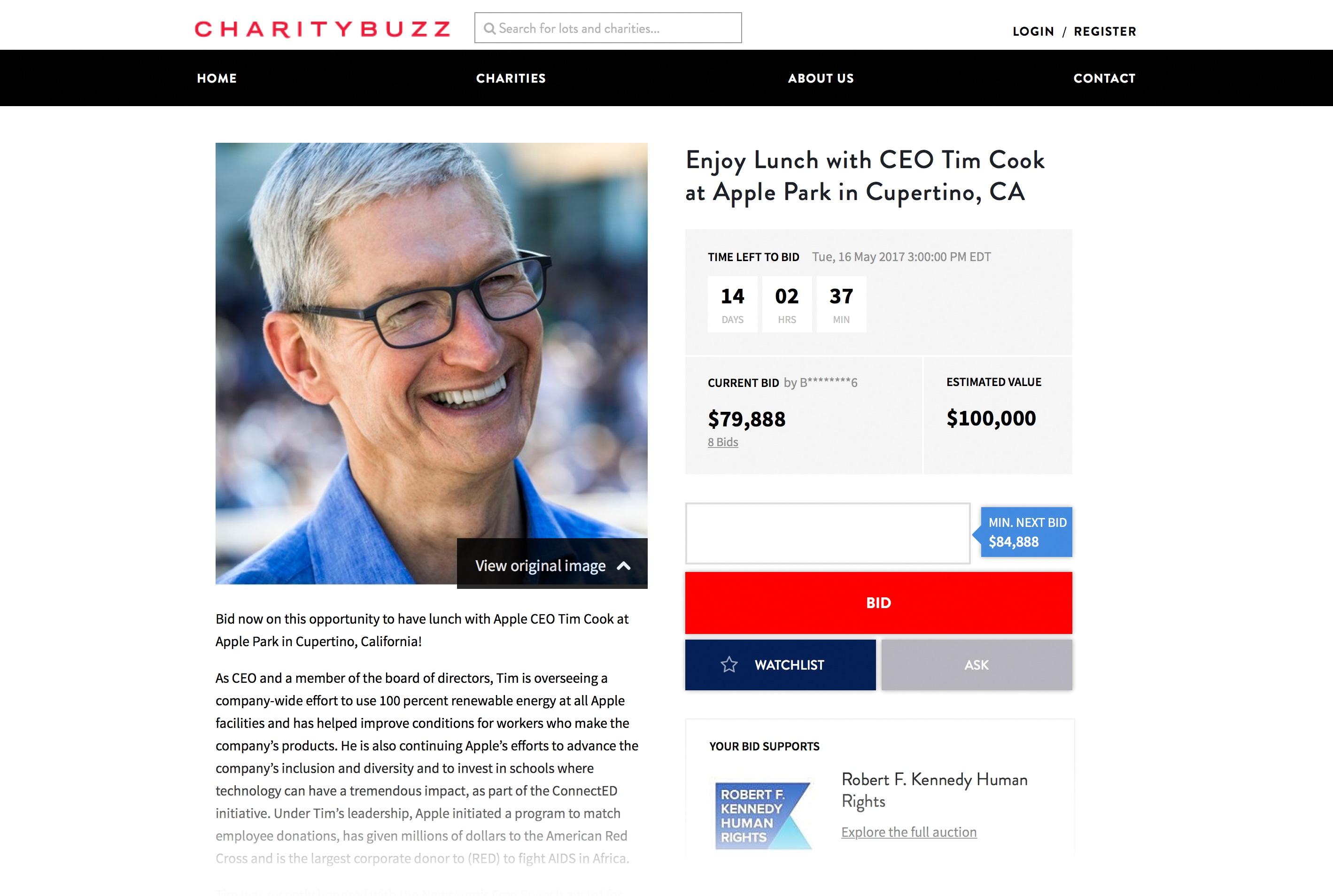 Página do leilão com Tim Cook (almoço no Apple Park)