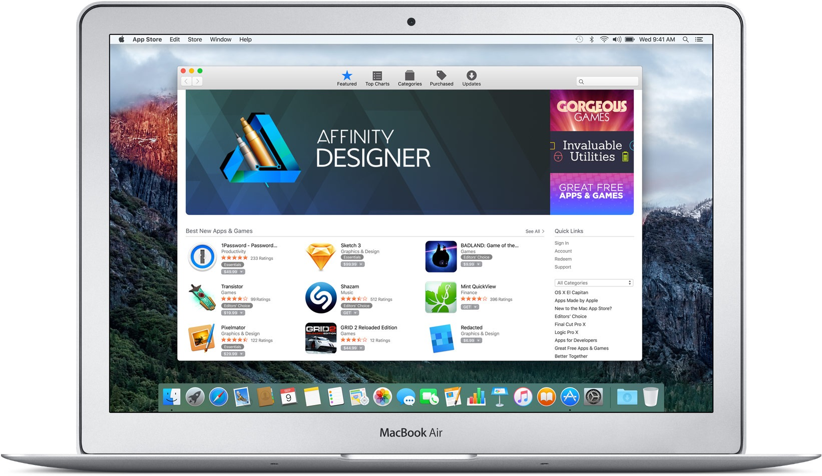Mac App Store no MacBook Air