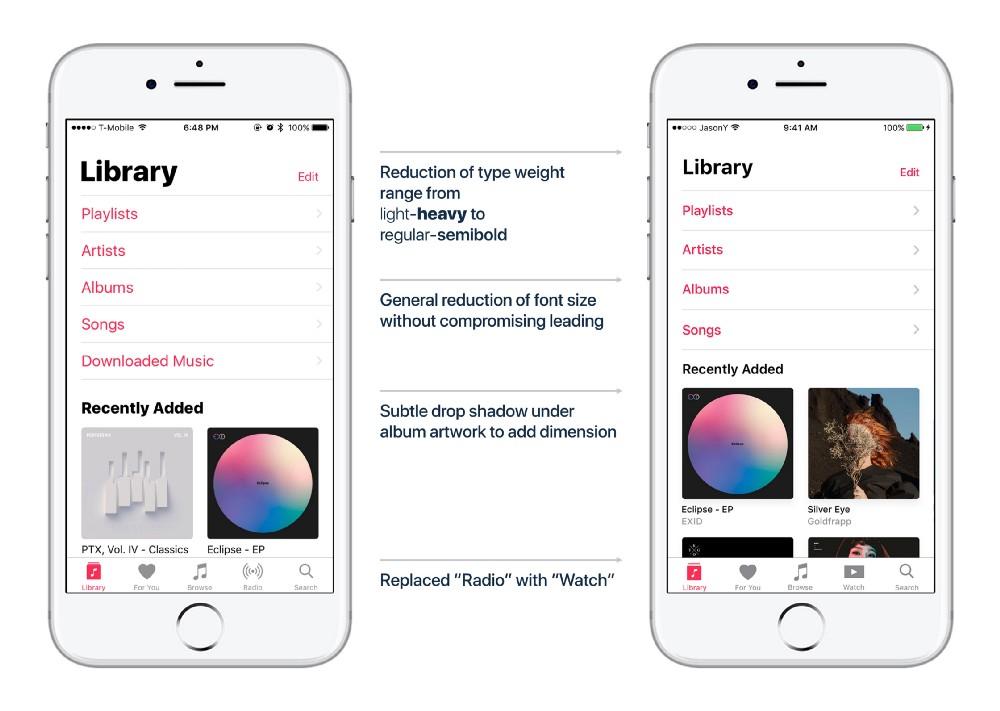 Proposta de redesign do Apple Music do estudante Jason Yuan