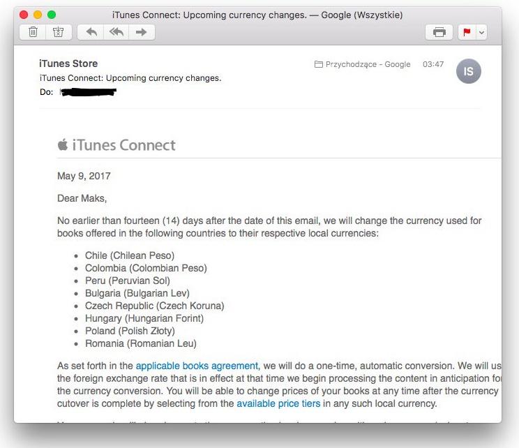 Nota da Apple sobre mudança cambial da iBooks Store em alguns países