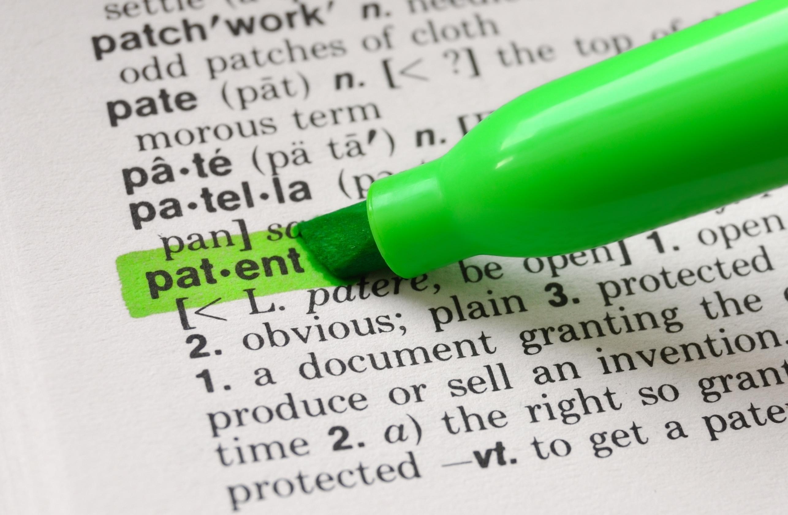 Palavra patente no dicionário