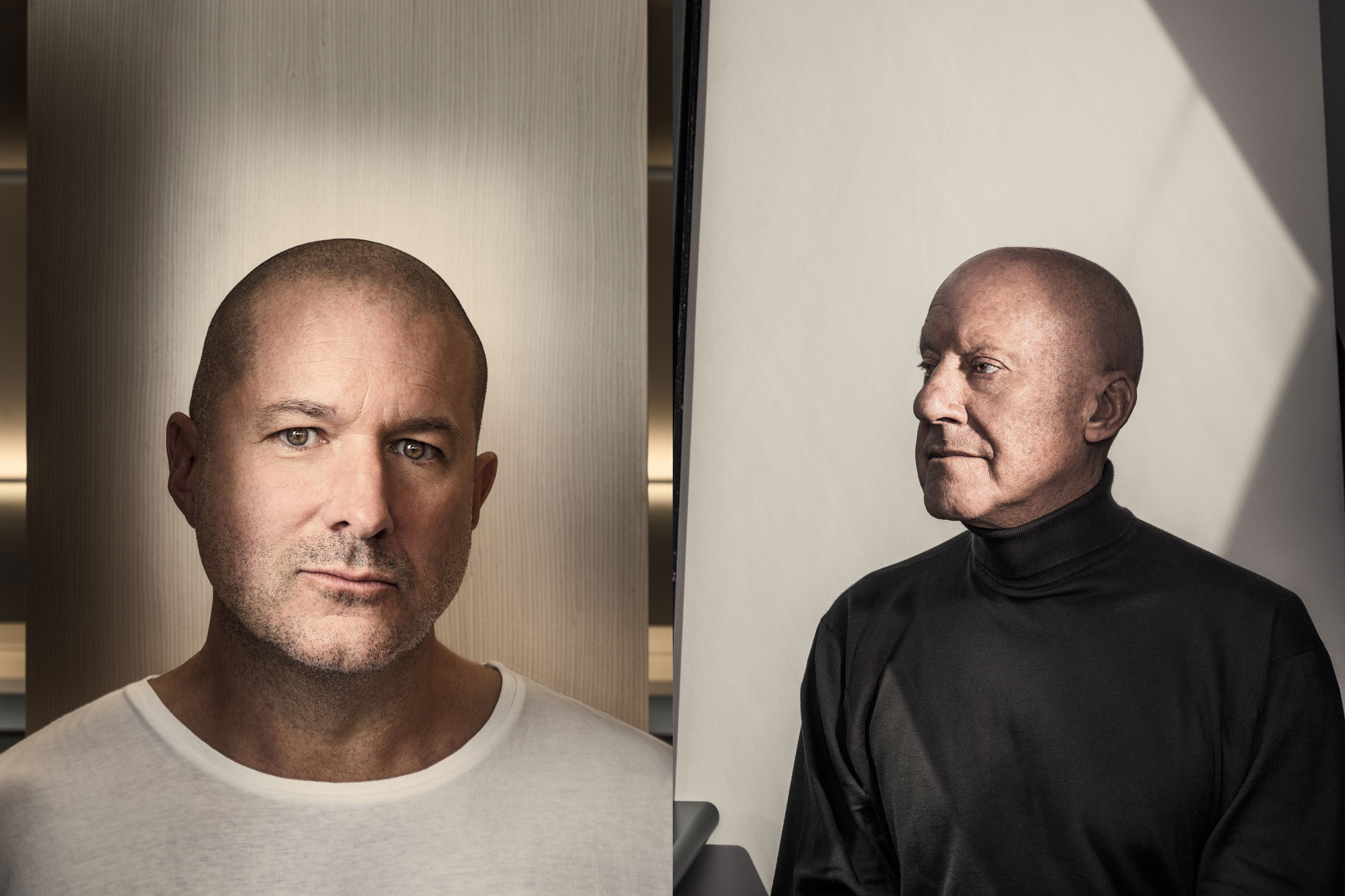 Jony Ive à esquerda; Norman Foster à direita