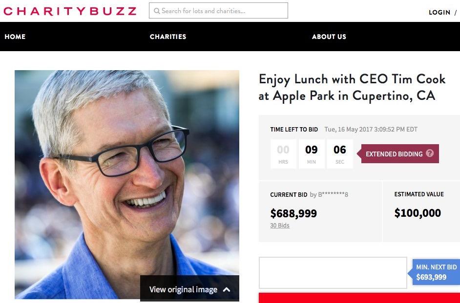 Site com o último lance no leilão do almoço com Tim Cook no Apple Park