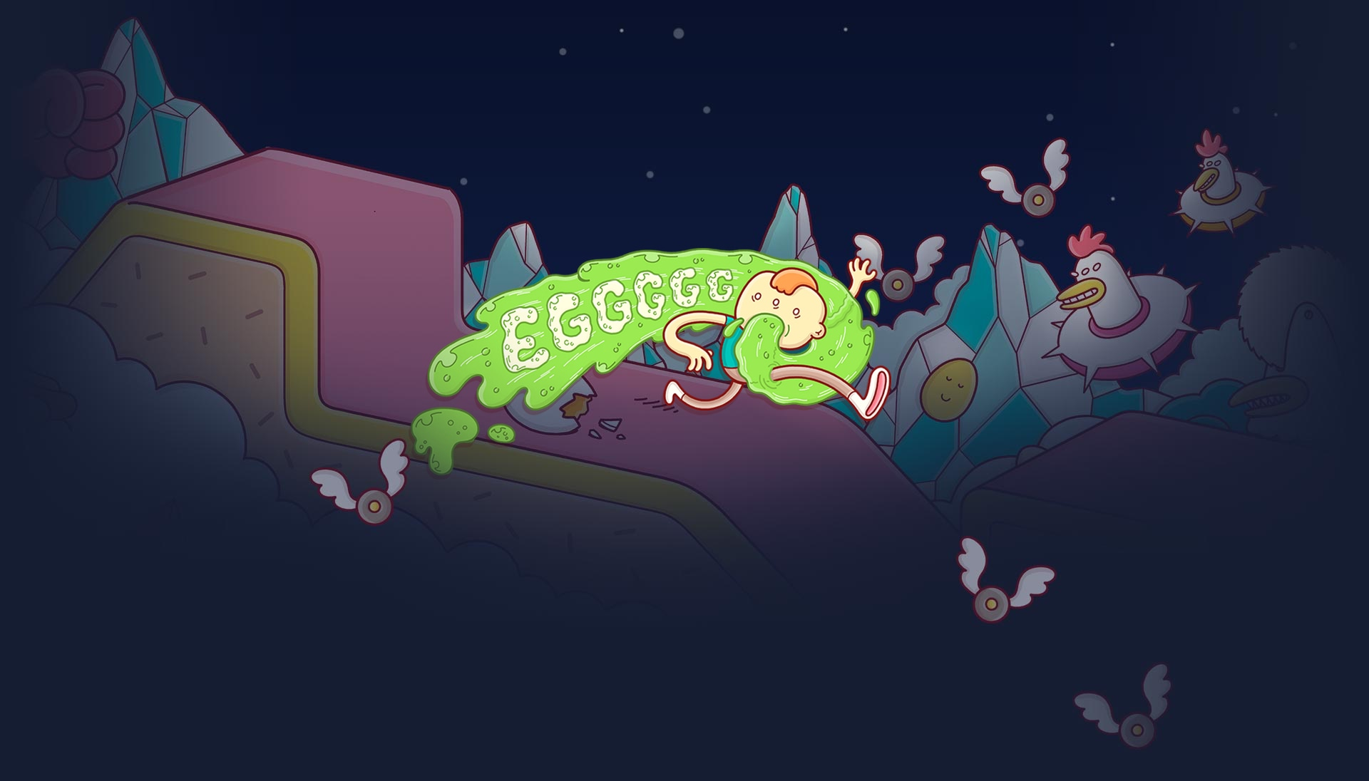 "Banner do jogo ""Eggggg - O vomitador de plataforma"" para iOS e tvOS"