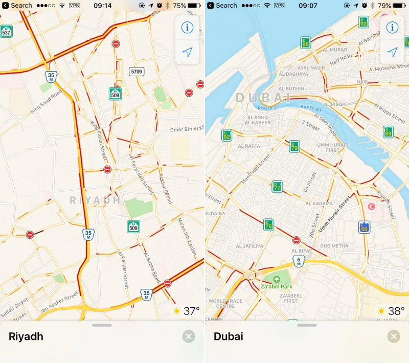 Apple Mapas Arabia saudita transito