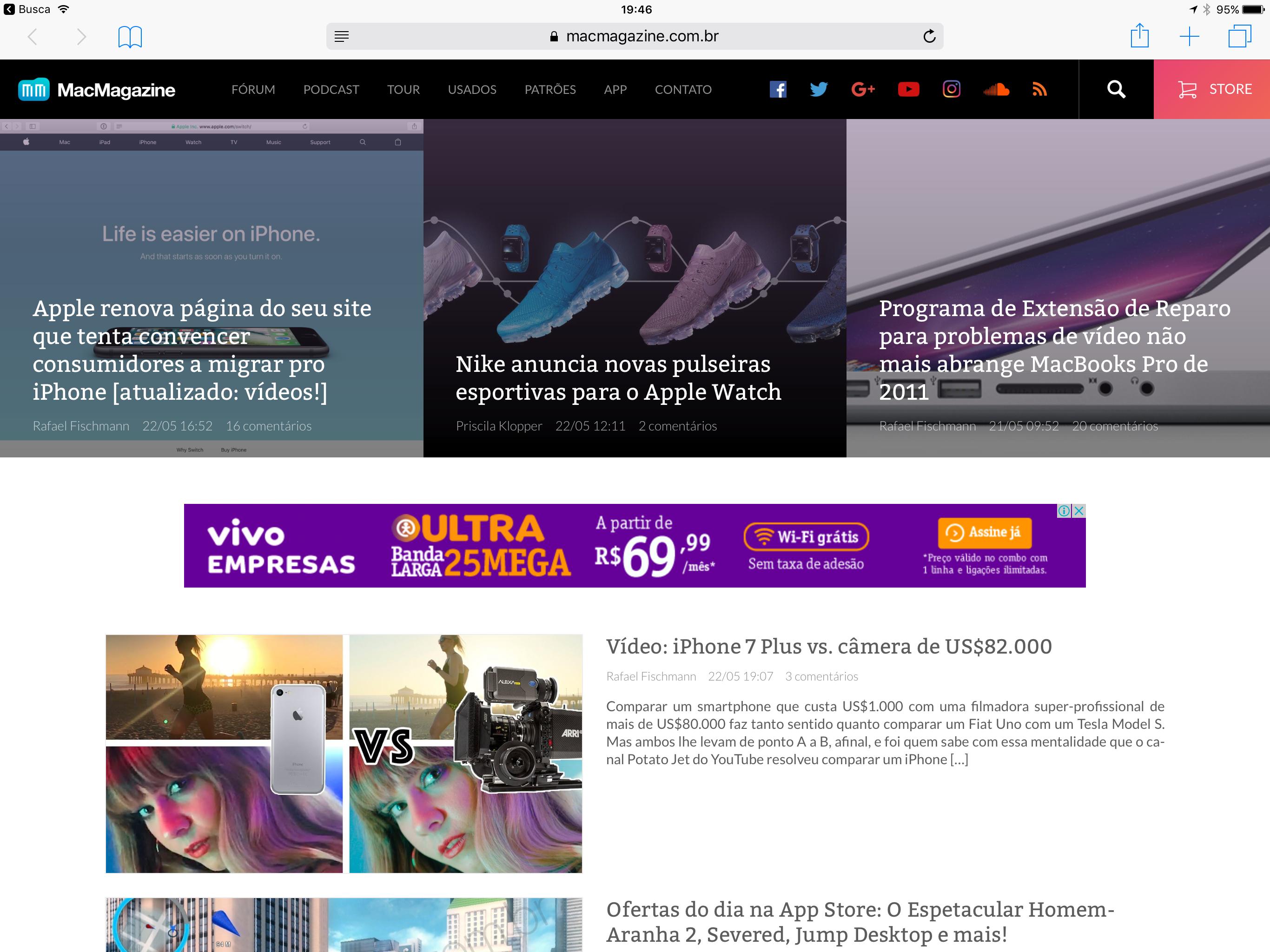 MacMagazine no Safari do iPad