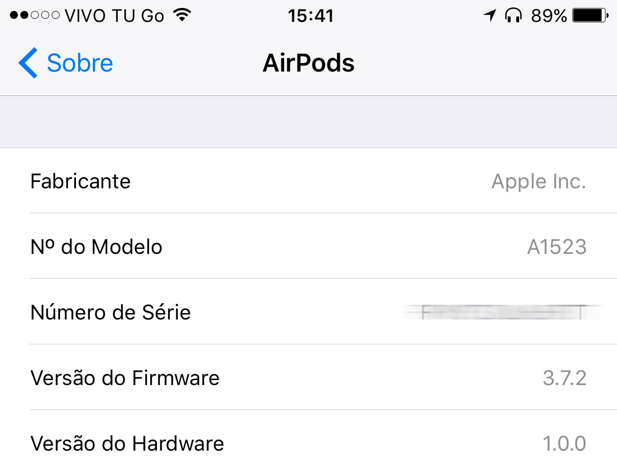 Firmware 3.5.2 dos AirPods