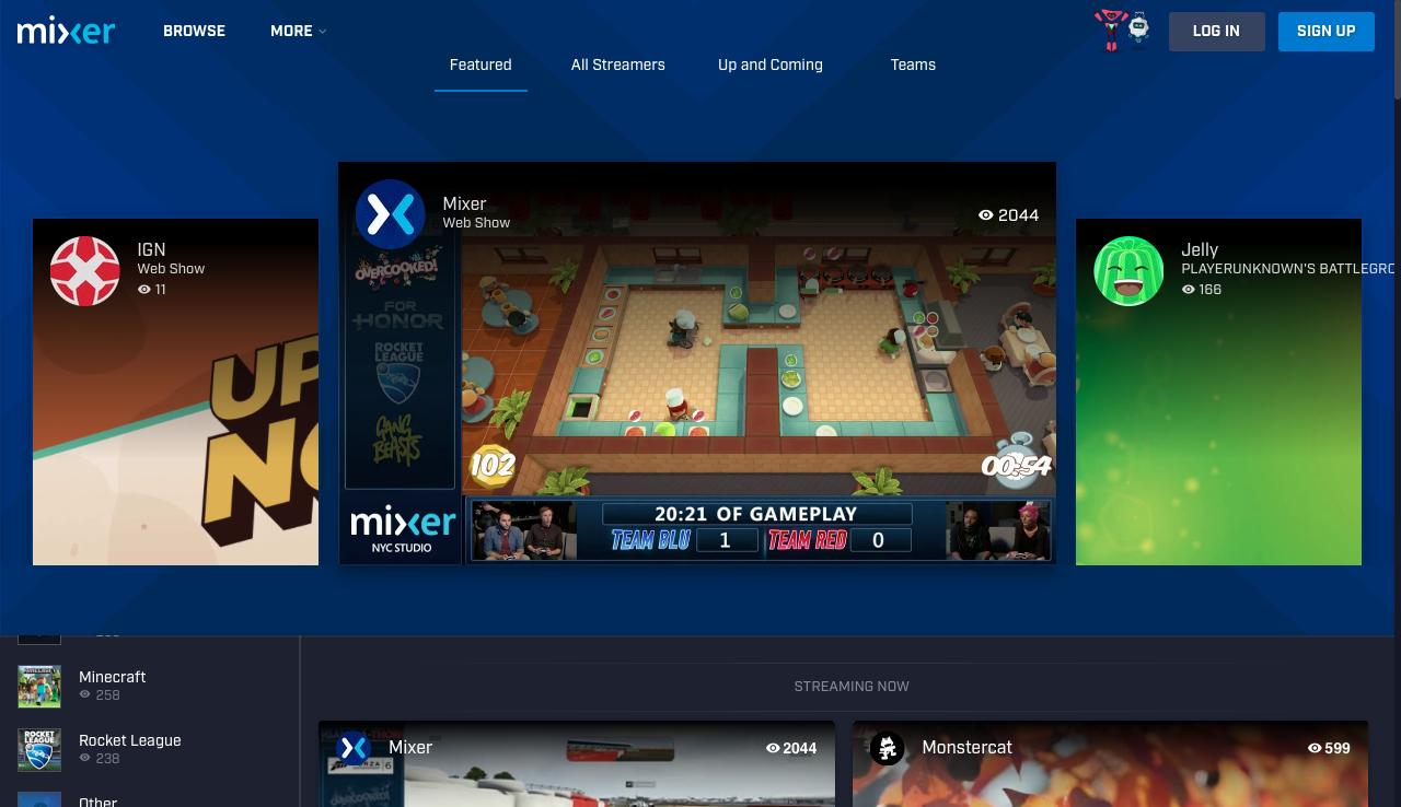Mixer, plataforma de streaming da Microsoft