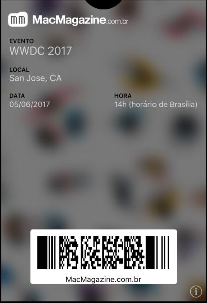 Tíquete da WWDC'17