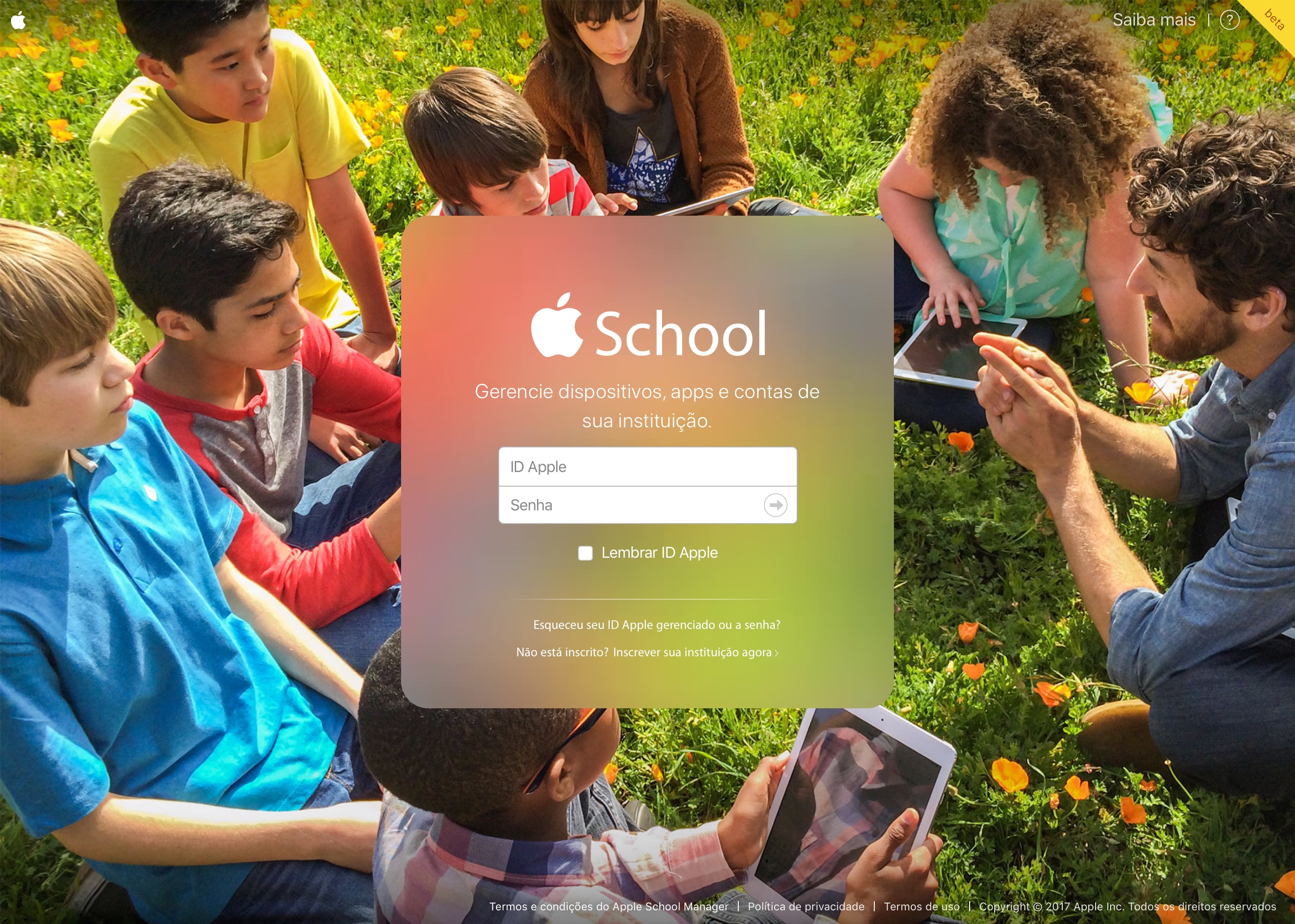Site do Apple School Manager