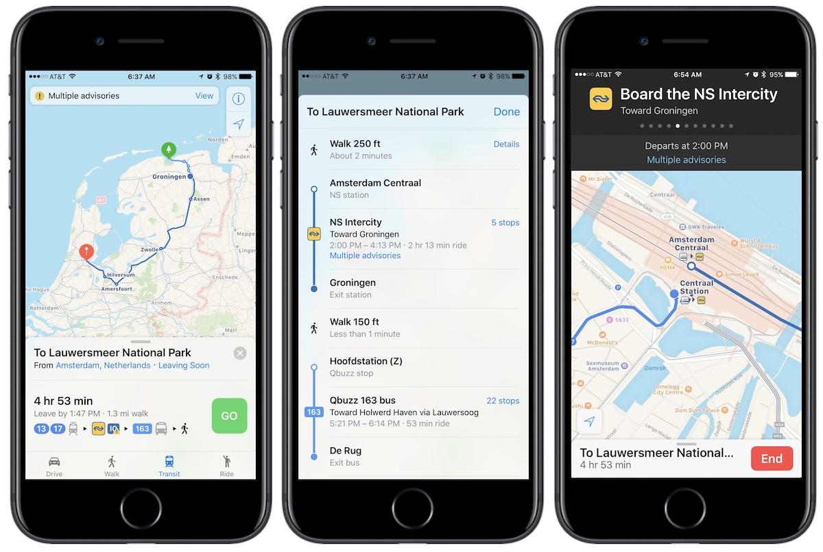 Mapas com informações de transporte público na Holanda