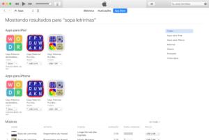 """Busca por """"sopa letrinhas"""" na App Store"""