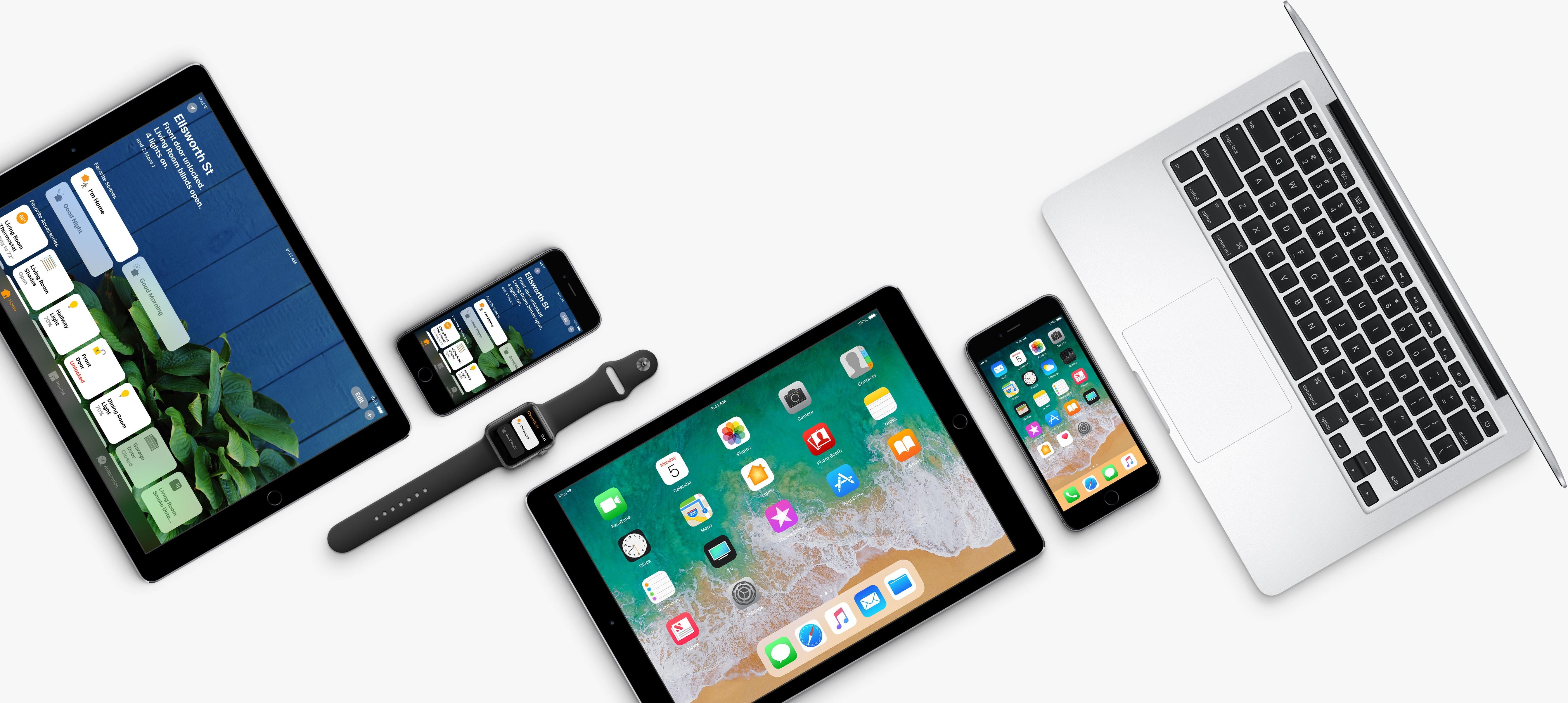 iPad, iPhone, Apple Watch e MacBook com os novos sistemas operacionais beta da Apple