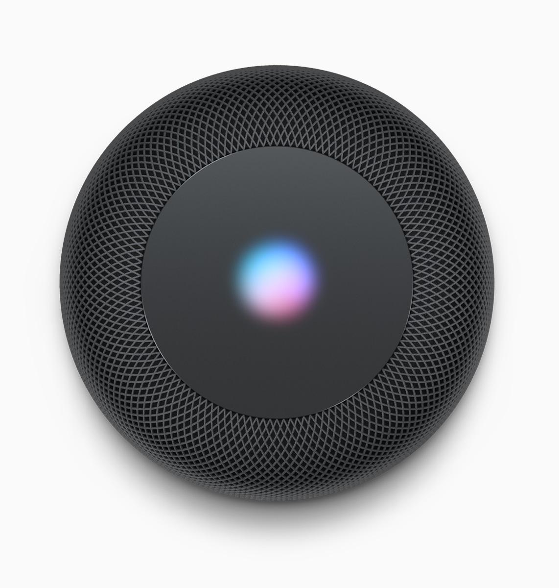 HomePod preto de cima com o ícone da Siri