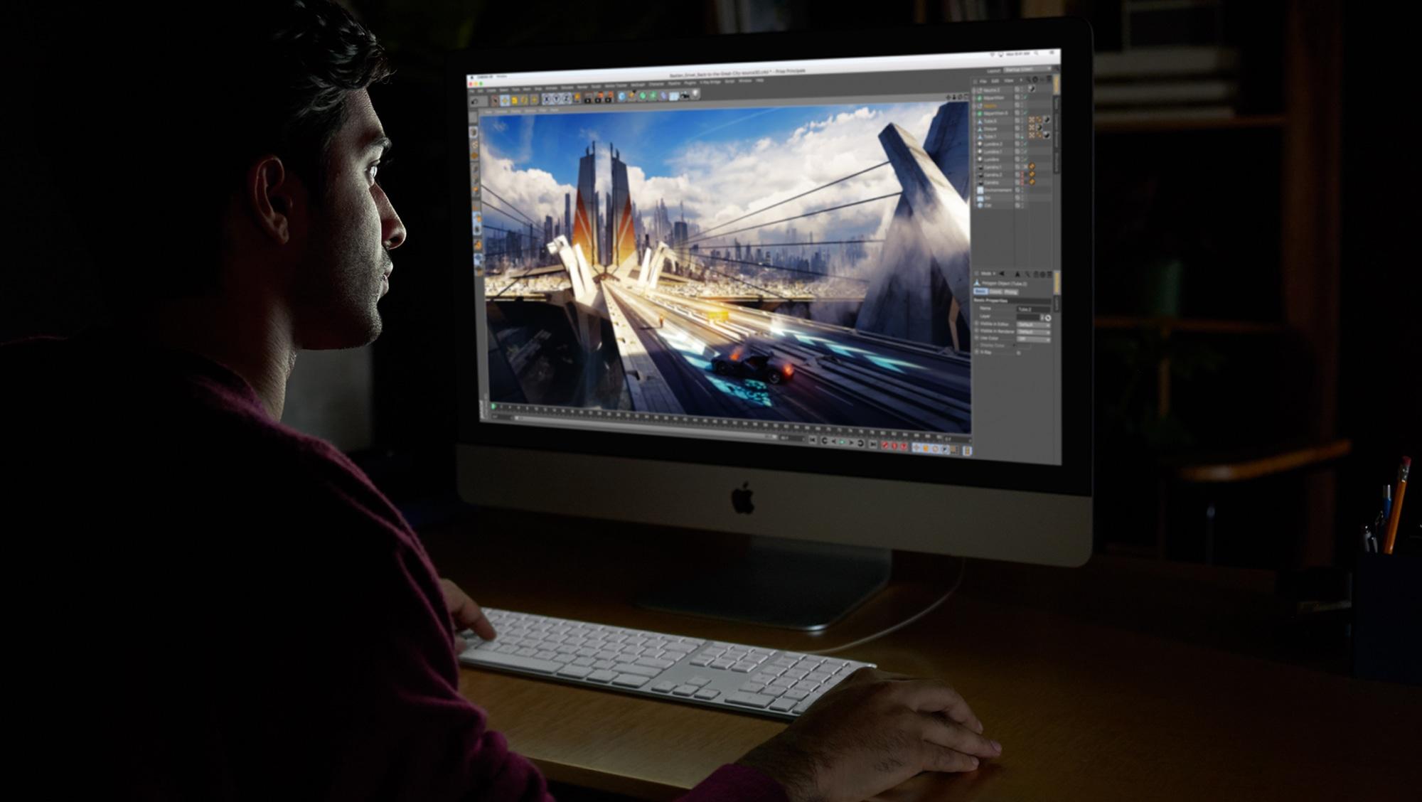 iMac Pro sendo usado no escuro